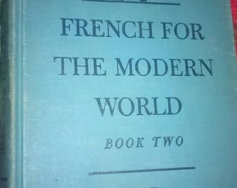 Vintage 50s School Textbook French for the Modern World Books One & Two by Finding, Johnson and Brenman Harcourt Brace and Company