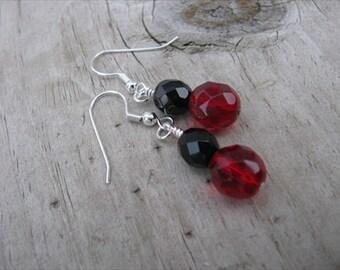 Deep Red and Black Beaded Earrings