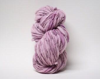 Handspun Thick and Thin Yarn Merino Wool Slub  Hand Dyed tts(tm) Bulky Impatiens 03