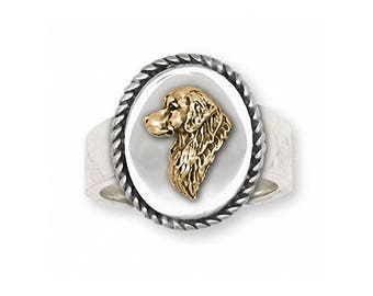 Golden Retriever Ring Jewelry Silver And Gold Handmade Dog Ring GR23V-TNR