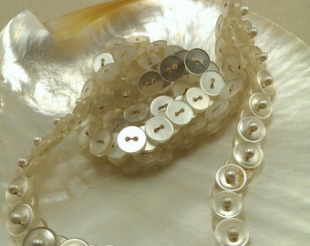 Mother of Pearl Looking Button Vintage Necklace
