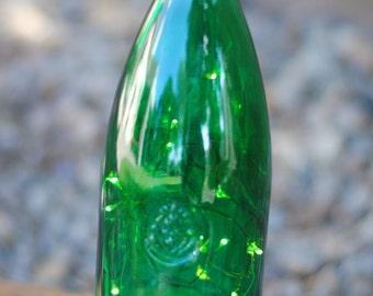 Green Lighted Wine Bottle- Rustic Simplicity-Wine Bottle Lights-Handcrafted Nightlights-Cordless Fairy Lights-Repurposed Wine Bottles