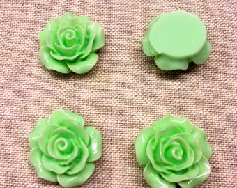 Set of 4 light green color T35 flower cabochons