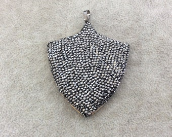 "2.5"" Pave Rhinestone Encrusted Wood Shield/Crest Shaped Pendant with Gray Rhinestones and Attached Bail - Measuring 55mm x 64mm, Approx."