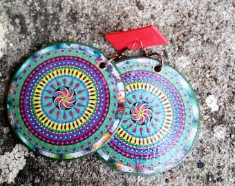 wooden earrings, wood earrings, earrings, wooden jewelry, wooden jewellery, natural earrings, boho earrings, handmade earrings, mandala