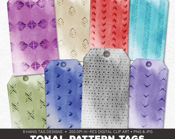 Digital Collage Sheet • Tonal Pattern Printable Hang Tags • 8 Instant Download Hangtag & Gift Tag Designs • JPG PNG