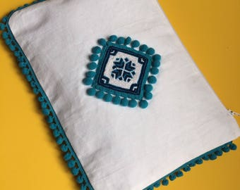 Beautiful Summer Clutch Bag with Hand Embroidery and Pom Poms