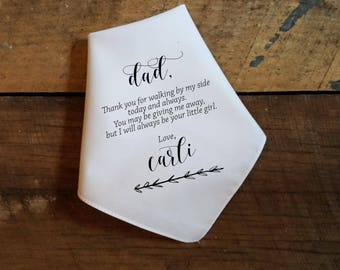 Father of the Bride Gift - Wedding Handkerchief For Father - Personalized Wedding Gift - Wedding Gift to Father - Custom Handkerchief