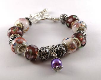 Multicolor bracelet European style Murano lampwork beads and silver snake