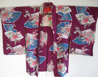 Antique silk haori with fans and flowers - For kitsuke or home decor- Made in Japan