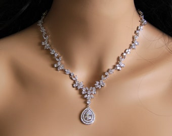 The princess necklace, CZ jewelry, wedding jewelry, bridal jewelry, cz necklace, wedding necklace, wedding necklace, bridesmaid jewelry