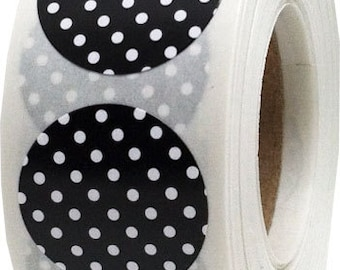 Black Stickers with White Polka Dots - 0.75 Inch Round | 500 Labels