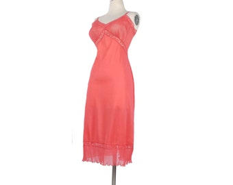 Vintage 50s Slip - 50s Full Slip - Vanity Fair Slip - Pink Slip - Vanity Fair Nylon Slip - Sheer Slip - Nylon Tricot - Nylon Chiffon Lace