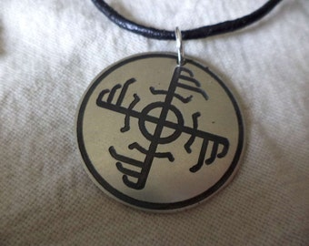 Viking Ginfaxi Bindrune Etched Nickel Silver Pendant