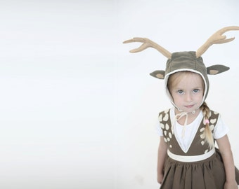 Halloween Deer hat with antlers for girls Christmas gift, Halloween costume, toddler costume, girl costume, halloween costume children