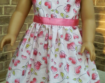 """18 inch American Doll Clothes Doll Dress Fits 18"""" Girl Doll -  Hearts and Roses Valentines"""