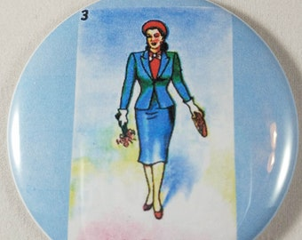 """Pocket Mirror, 2.25"""" Mirror, Purse Mirror, Glass Mirror, Mexican Loteria, La Dama, Birthday Gift, Thank You Gift, Holiday Gift, Party Favors"""