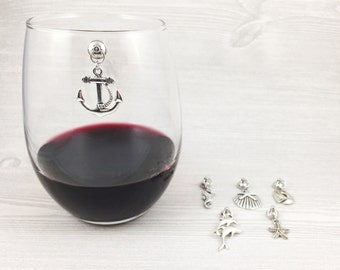 6 Nautical Wine Charms, Stemless Wine Glass Charms, Magnetic Wine Charms, Beach Lover Gift, Gifts for Her, Hostess Gift, Nautical Gift