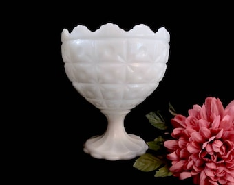 Napco Milk Glass, Pedestal Compote, Quilted Starburst Pattern, No 1185