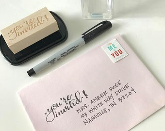 You're Invited Rubber Stamp - Hand lettered