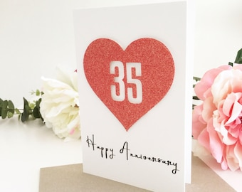 35th Anniversary Card, 35th Anniversary Gift for Husband 35th Wife, Gift for Wife, 35 Years Together, Coral Anniversary, Wedding Anniversary