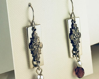 Rectangular Drop with link and Cut Glass Beads
