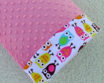 Toddler Pillowcase -  Travel Pillowcase - Owl Minky Pillowcase - Kids Gift - 12x16 Pillowcase - Pillow Cover - Girl Gift - kids bedding