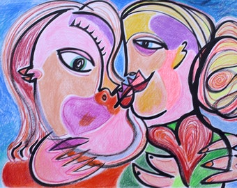 Lovely unique artwork THE Kiss  original coloured drawing, loving each other, pencil on  on paper, also as digital file for sale