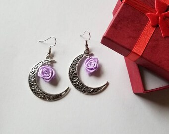 Lavender flower with Moon earrings, Moon earrings, Half Moon earrings, Half moon jewelry.