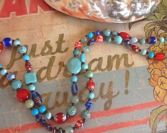 Colorful Necklace Turquoise Necklace Women's long necklace