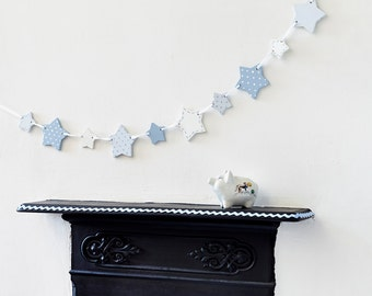 Blue Wooden Star Bunting - New Baby Gift - Baby Boy Gift - Nursery Decorations - Nursery Decor - Wooden Bunting - Garland