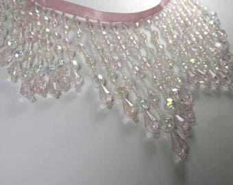 Fairylicious Pale Pink and Crystal AB Long Beaded Fringed Decorator trim