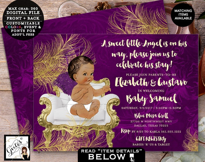 """Purple and Gold Baby Shower Angel Invitation Boy Shower, Printable African American, Double Sided, 7x5"""" Gvites."""
