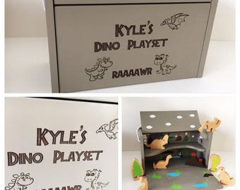 Personalised engraved dinosaur wooden playset - gift for him - gift for her - wooden toy - christening gift