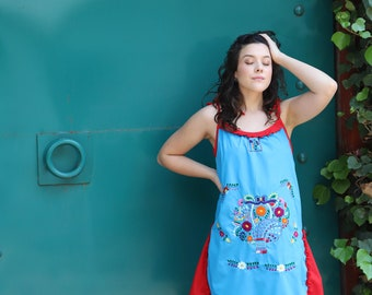 Blue and red of a kind Hand Embroidered Mexican Spaghetti strapped dress