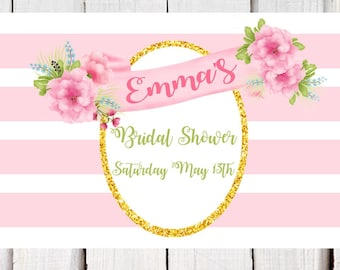 Bridal Shower Placemats, Party placemats, pink and gold shower placemat, personalized bridal shower printable paper placemats with name PDF