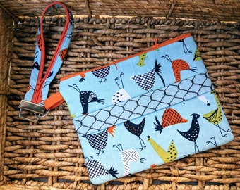Zippered bag, purse, zipper wallet, chickens, gift for her, pouch, wallet, clutch, travel bag, keyfob, clutch, mom gift, Mothers Day gift