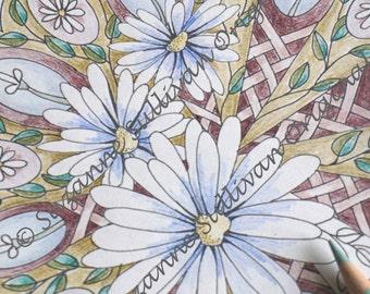 Digital Coloring Page, Daisy Mandala, Adult Coloring Page, Coloring, Printable Coloring Page, Coloring Mandala, Daises Coloring Page