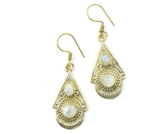 Kediri Moonstone Earrings, Ornate Moonstone Earrings, Gemstone Jewelry, Brass Earrings, Festival Earrings, Gypsy Earrings, Ethnic Earrings