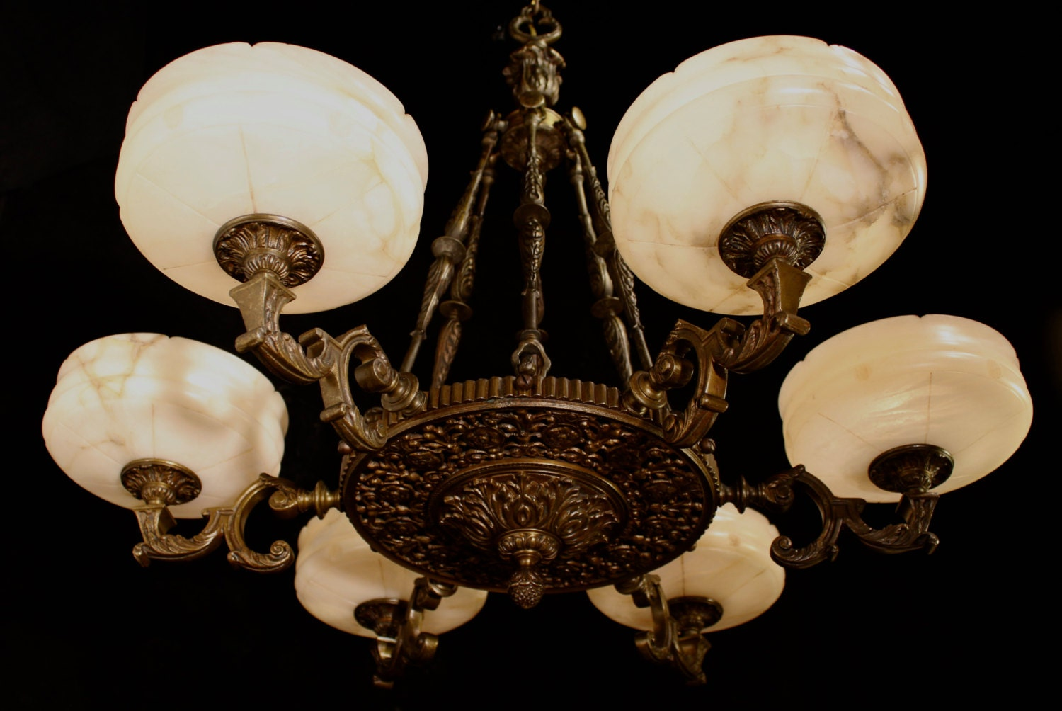Chandelier solid bronze and real alabaster six lights circa 1930 mozeypictures Gallery