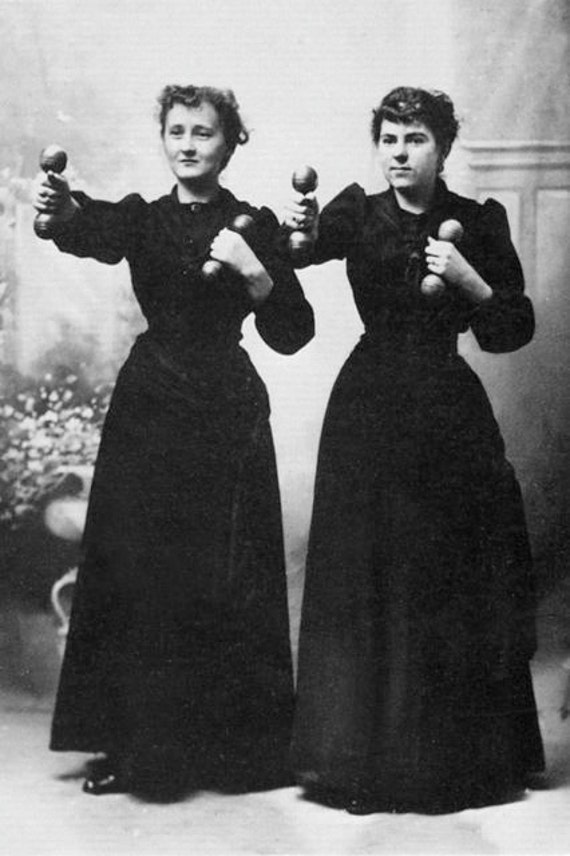 Two victorian ladies exercise dumbbells hand weights weird for Odd victorian names