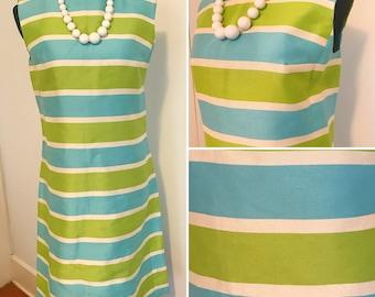 1960s Bright Mod Striped Wiggle Dress - 1960s Striped Bright Shift Dress - 1960s Shift Wiggle Dress