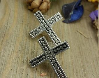 Vintage Silver Cross Earrings