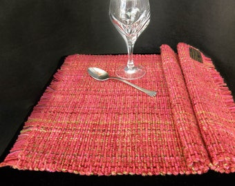 Placemats Pair - Scarlet red handwoven washable