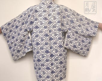 Japanese Kimono Jacket Haori/ Vintage Floral Kimono Haori/ Kimono Cardigan/ Short Kimono Robe/ Short Sleeve