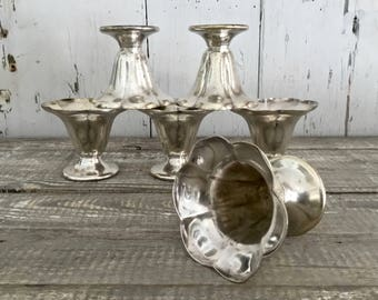 Hotel Silver Sundae Cups, Silver Soldered Dessert Cups, Set of Six