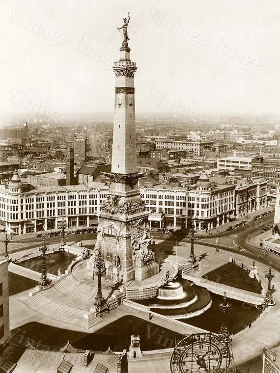 Indianapolis Photo of Monument Circle, Indiana art print, Indianapolis City Scene. Indianapolis Skyline photo, Downtown Image largest size