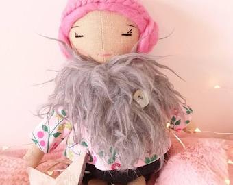 Colette linen, woolen hair doll
