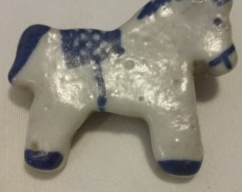 Primitive Horse Pin/Blue/White Glazed Art Jewelry/Colonial Accessory/Rocking Horse Accent/Childs Jewelry/Vintage Hand Painted Artisan Made