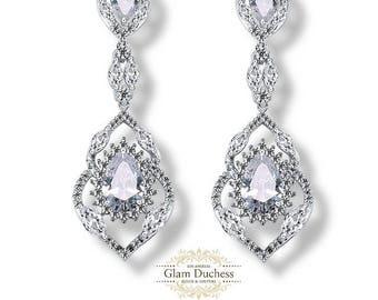 Bridal earrings, bridesmaid earrings, Bridal jewelry, Wedding earrings jewelry, crystal earrings, evening chandelier teardrop earrings